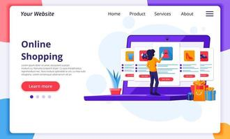 Woman using laptop for online shopping landing page vector