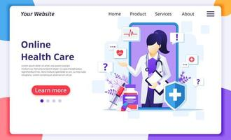 Online female doctor communication landing page vector
