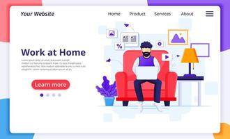 Man communicating with laptop from home landing page vector