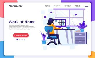 Woman at desk working from home landing page vector