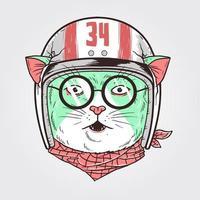 gato piloto com design de capacete