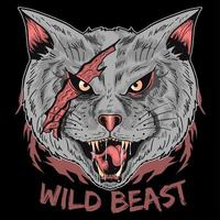Scary Cat Wild Beast Design  vector