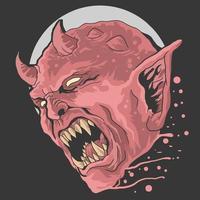 design de grito de cabeça de diabo vetor