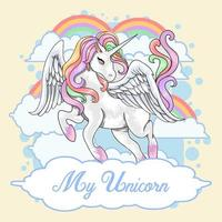 Unicorn with Wings and Rainbow s