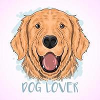 design feliz do amante do cão do golden retriever vetor