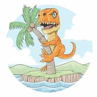 dibujos animados t rex escalada palmera vector