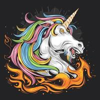 Angry Unicorn with Fire Design