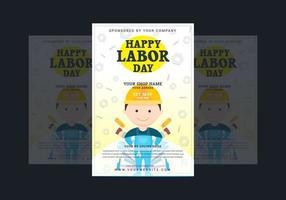 cartel del día del trabajo con trabajador de dibujos animados vector
