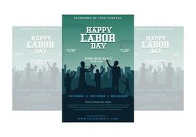 Happy Labor Day Poster with Workers Cheering Together