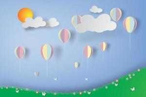 Colorful Balloons Over Flower Field
