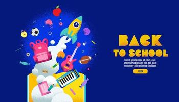 Colorful Back to School Banner with Education Elements vector