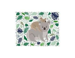 Mother koala with her child surrounded by leaves vector