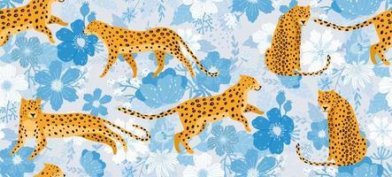 luipaarden omgeven door blauwe bloemen naadloos patroon vector