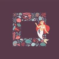 Underwater frame and mermaid card vector