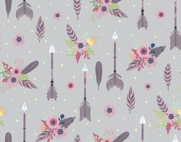 Ethnic feathers, arrows and flowers seamless pattern