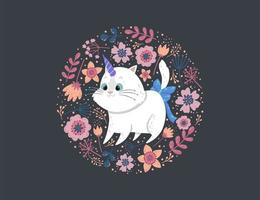 Floral circle background with unicorn cat