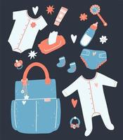 Baby items and clothing set vector