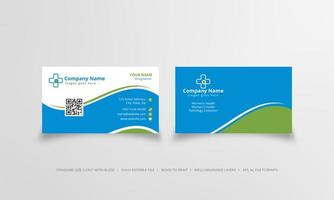 Blue and green physician visiting card template vector