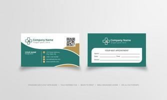 Doctor business card in green and white