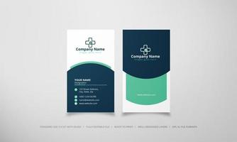 Vertical green and blue doctor business card