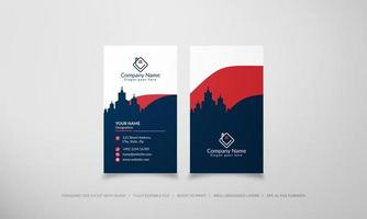 Vertical business card with blue city silhouette vector