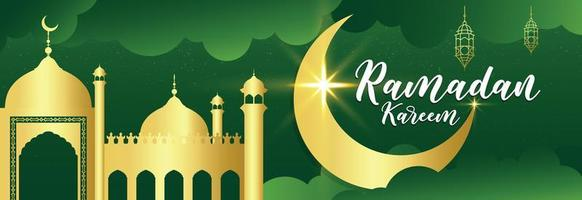 Gold Mosque and Moon Ramadan Kareem Green Banner  vector