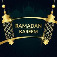 Green and Gold Lamp Scroll Ramadan Kareem Banner vector