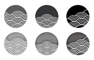 Water wave circle set vector