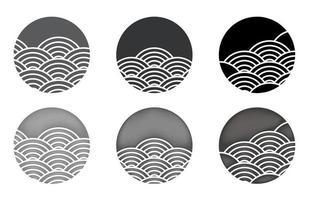 conjunto de círculo de onda de agua