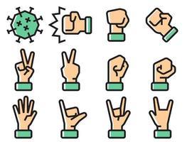 conjunto de ícones de sinal de mão para combater o coronavírus