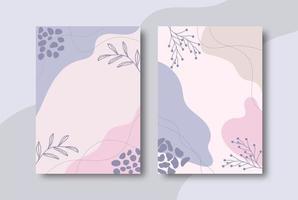 Pastel color organic shape cover set vector