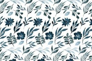 Flowers and leaves pattern in watercolor style vector