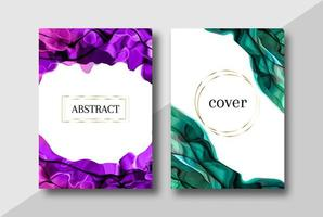 Jewel toned alcohol ink cover set vector