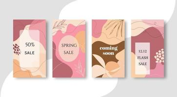 Pink abstract shape sale banners vector