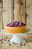 Sponge cake with cranberries photo