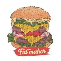 diseño de hamburguesa de grasa vector