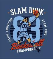 Slam dunk basketball championship emblem vector