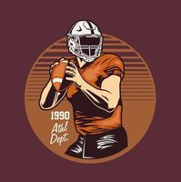 Retro style emblem with football player holding ball