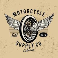 Motorcycle wheel with wings emblem vector