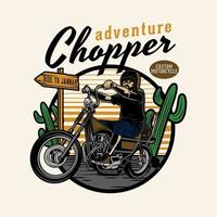 Chopper riding in desert emblem vector