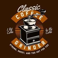 Vintage coffee grinder emblem vector