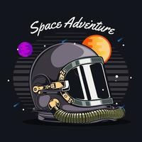 Astronaut helmet in front of space scene vector