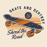 80er Jahre klassisches Skateboard vektor