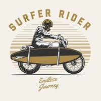 Motorcycle rider with surfboard vector