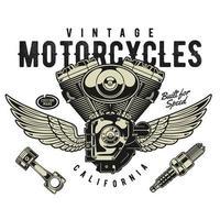 motor de moto com asas vetor