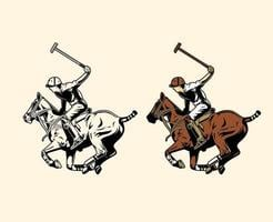 Polo player swinging mallet vector