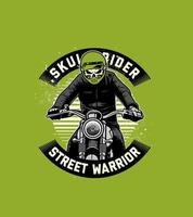 Front view of motorcycle rider with skull head vector