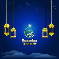 linternas de Ramadán Kareem en azul