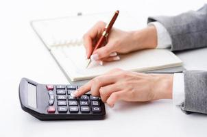 businesswoman working with calculator in office photo