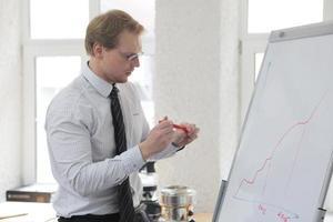 Business man explaining data
